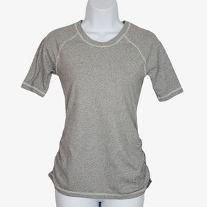 Lucy grey white stripe ruched short sleeve top